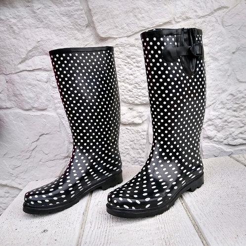 Black & White Rain Boots, Size 9