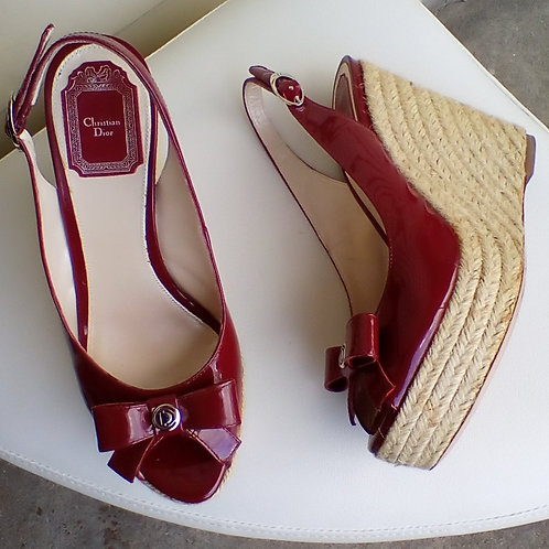 Christian Dior Red Patent Espadrilles, Size 7/7.5