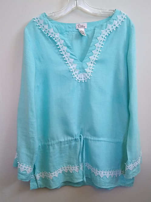 Lilly Pulitzer Blue Linen Top, Size S