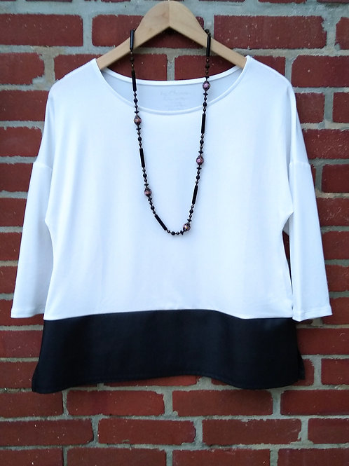 Chico's White Top with Faux Leather Black Trim, Size S/M