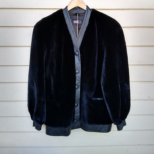 Black Fur Jacket, Made in England, Size 12