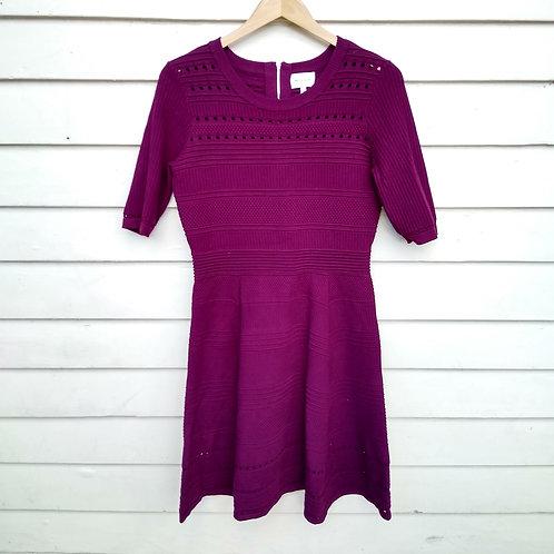 Milly Wine Knit Dress, Size L