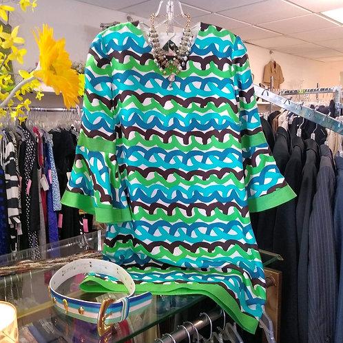 Vanessa Fox Multicolored Silk Dress; Escada Belt