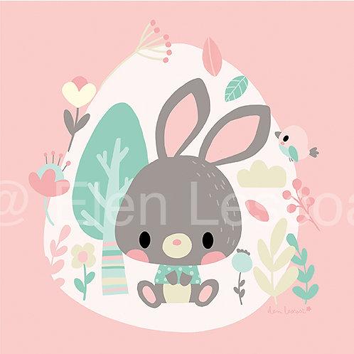 Coupon carré bébé lapin