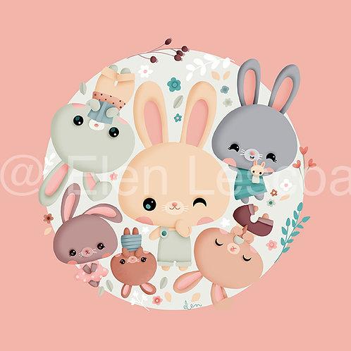 Coupon carré lapins