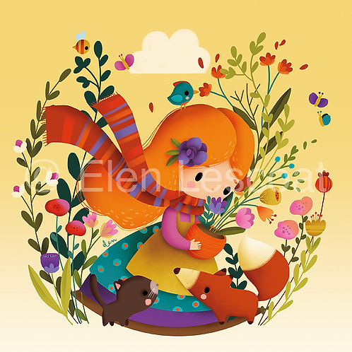 Coupon carré fille renard orange