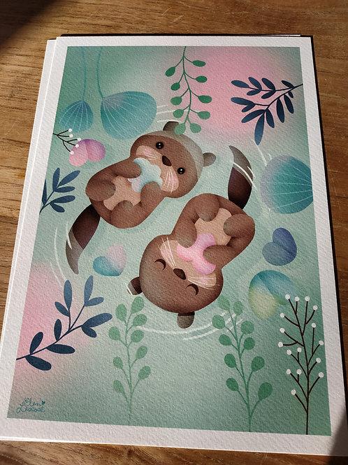 Impression sur papier d'art loutres