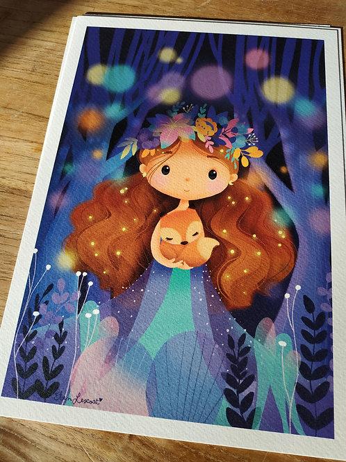 Impression sur papier d'art fée au renard