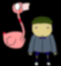 John and Flamingo, Sarah and Duck