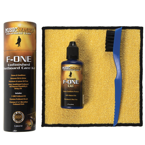 MusicNomad F-ONE Unfinished Fretboard Care Kit - Oil, Cloth, Brush