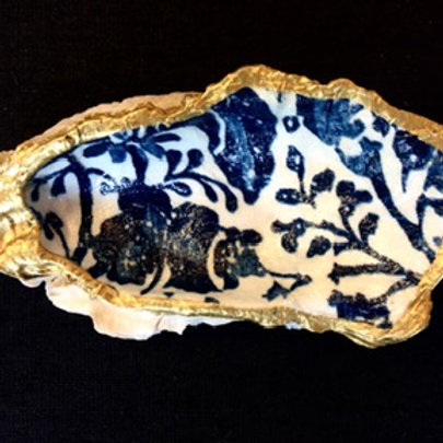 Decoupage Oyster Shell - Floral Batik