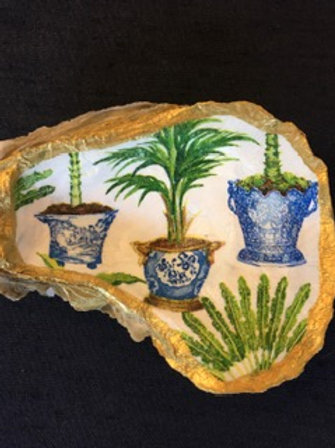 Decoupage Oyster Shell - Palm Tree