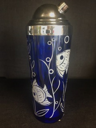 Cobalt Blue Glass Cocktail Shaker