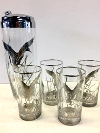 Glass and Silver Cocktail Set