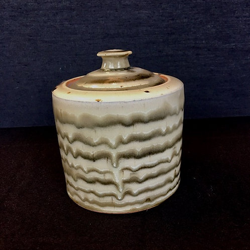Green/Brown Glaze Pot with Lid