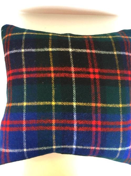 Tartan and Orange Wool Pillow