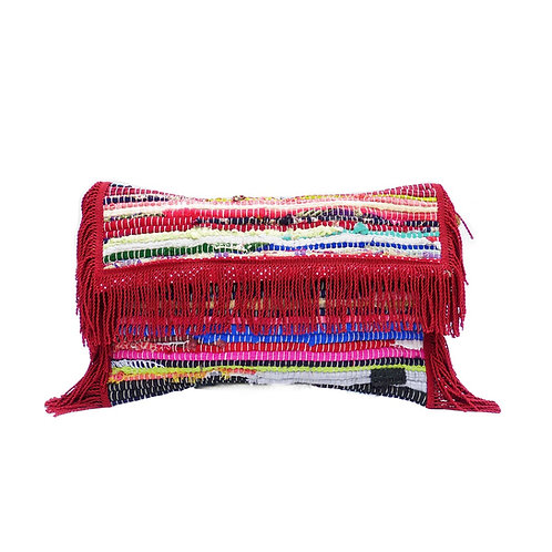 KOURELOU CLUTCH WITH RED FRINGES