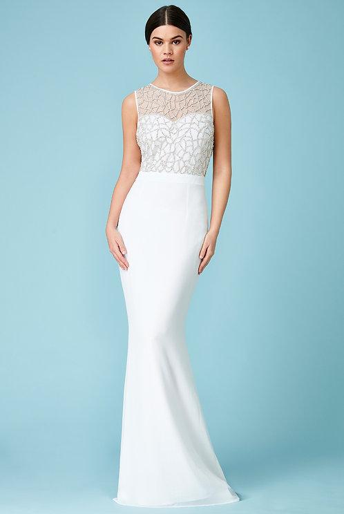 DIVA -EMBELLISHED WEDDING MAXI DRESS OFFWHITE