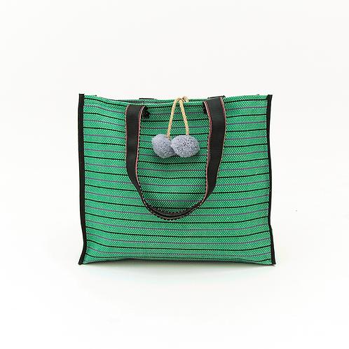 GREEN STRIPED BEACH BAG