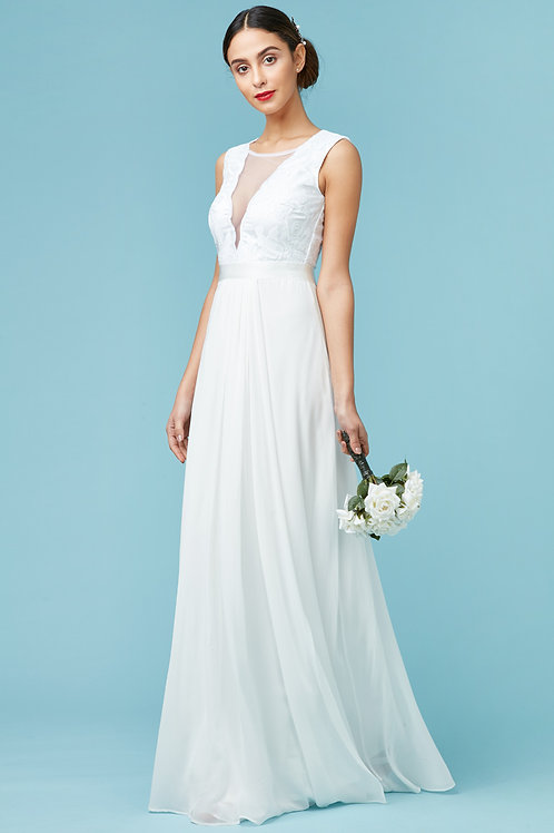 DIVA - V NECKLINE CHIFFON MAXI WHITE WEDDING DRESS