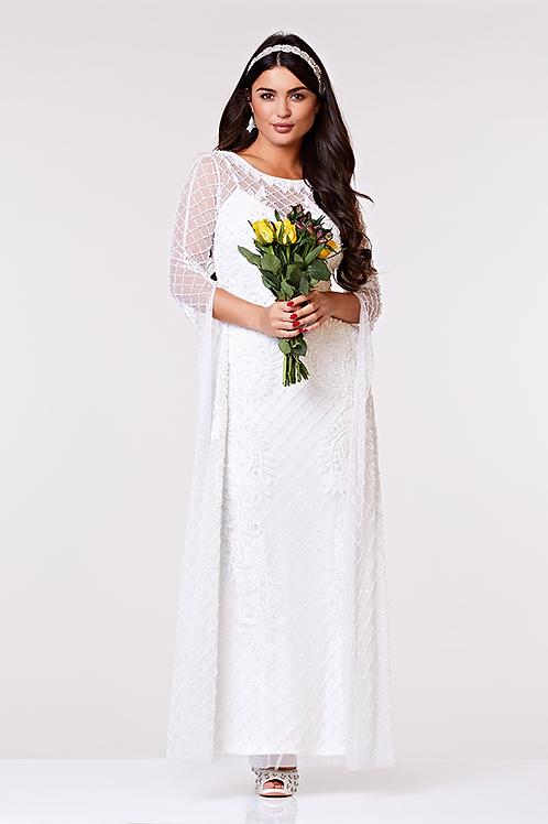 GATS - LONG SLEEVED MAXI WEDDING DRESS IN WHITE