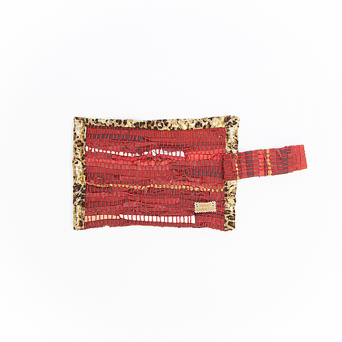 RED LEATHER KOURELOU ZIPPER CLUTCH