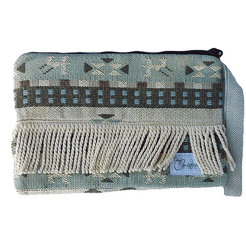FOLKLOR CLUTCH IN LIGHT GREEN SHADES