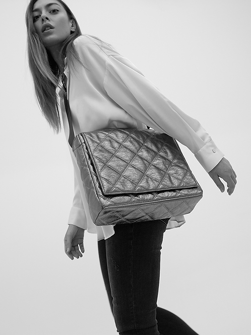 SILVER PADDED FLAP BAG