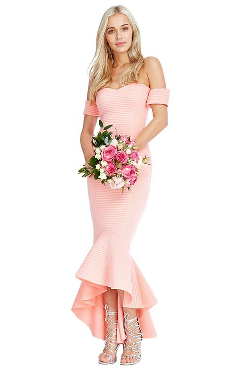 DIVA - PEACH BARDOT MAXI DRESS