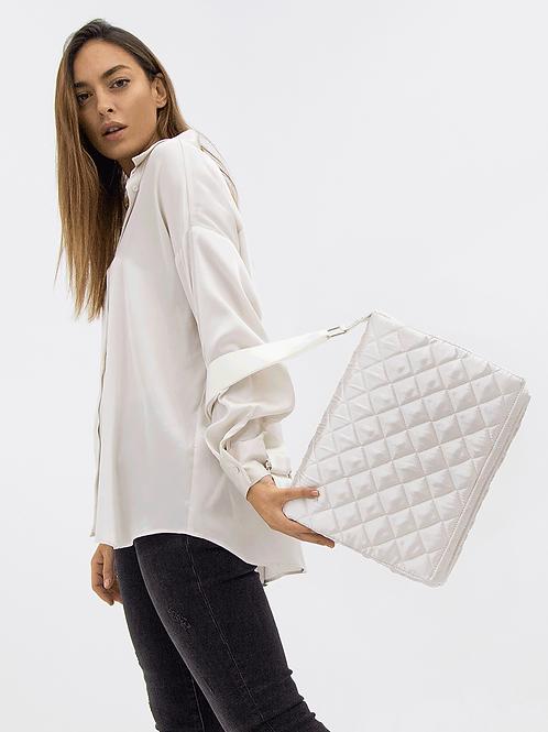 WHITE PADDED FLAP BAG