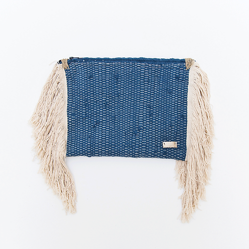 BLUE CLUTCH WITH FRINGES
