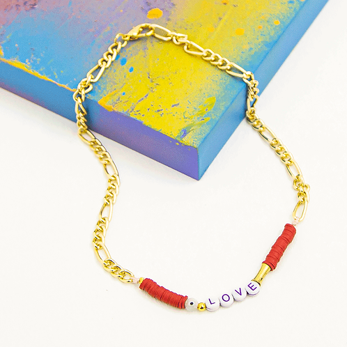 RED LOVE GOLD CHAIN NECKLACE