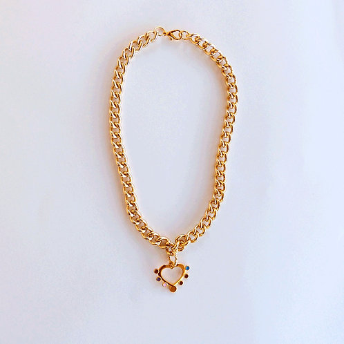 HEART GOLD BIG CHAIN NECKLACE