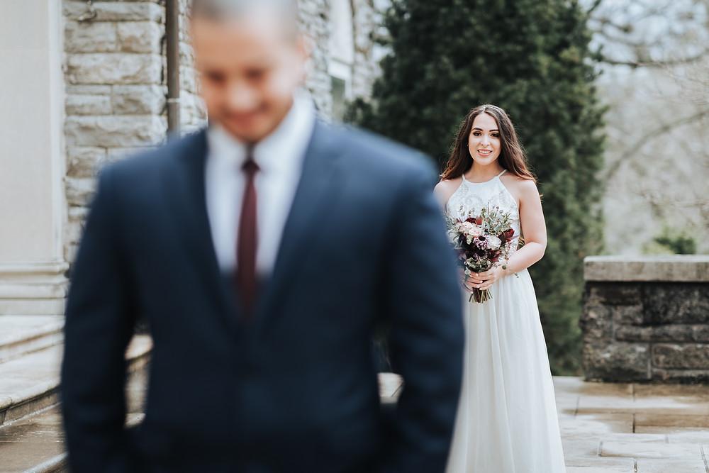 Wedding First Look, Cheekwood Mansion, Nashville