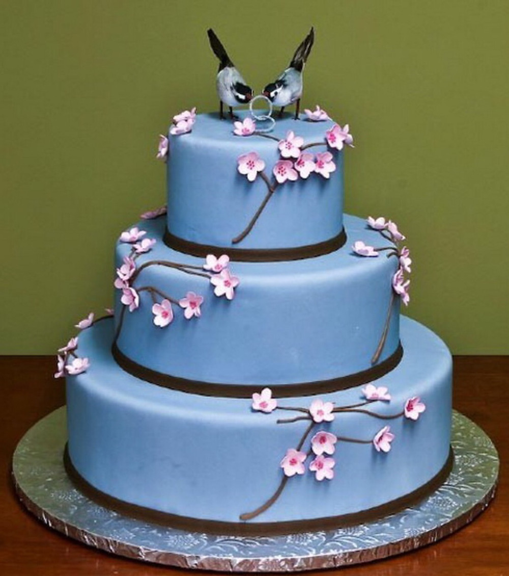 blue and pink wedding cake