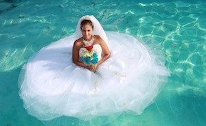 Bride in Swimming Pool