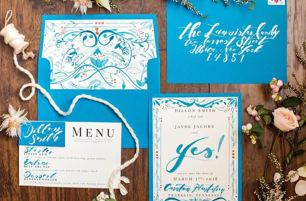 Hand painted invitation