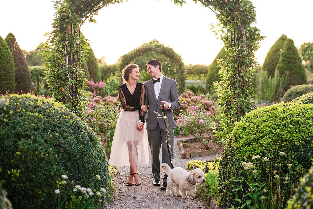 Bride and Groom walking dog - Nashville, TN