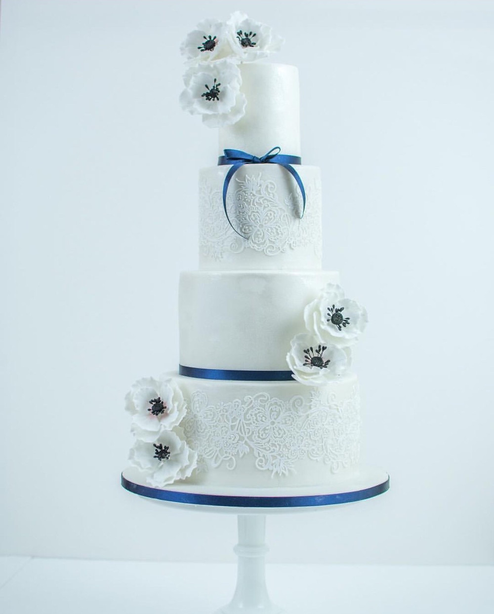Wedding cake with blue accents