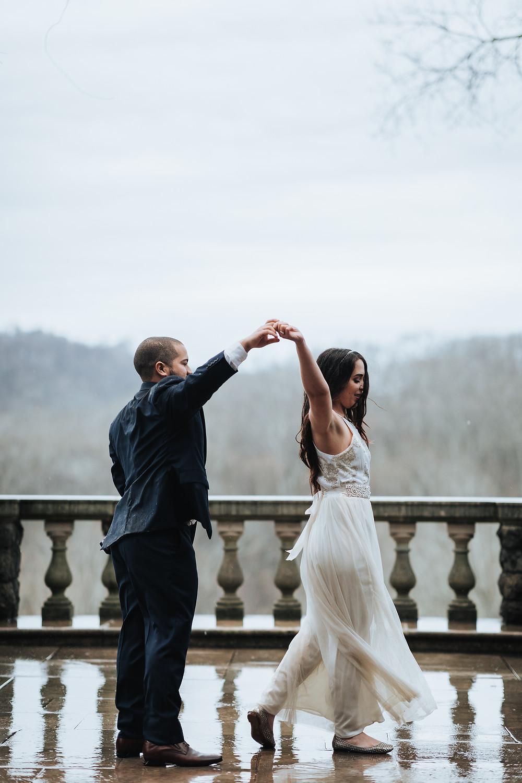 Bride & Groom dance in the rain, Nashville