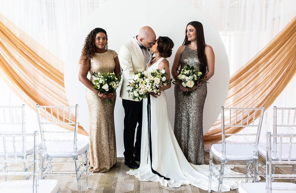 Silver and gold wedding ceremony