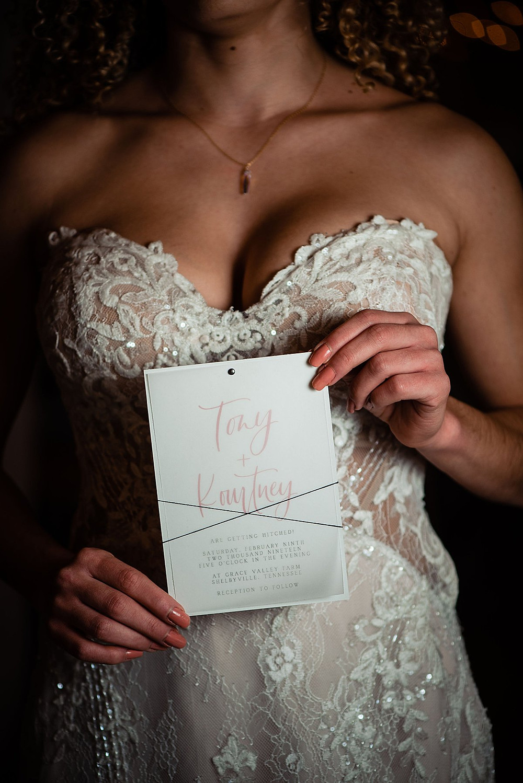 Vellum wedding invitation