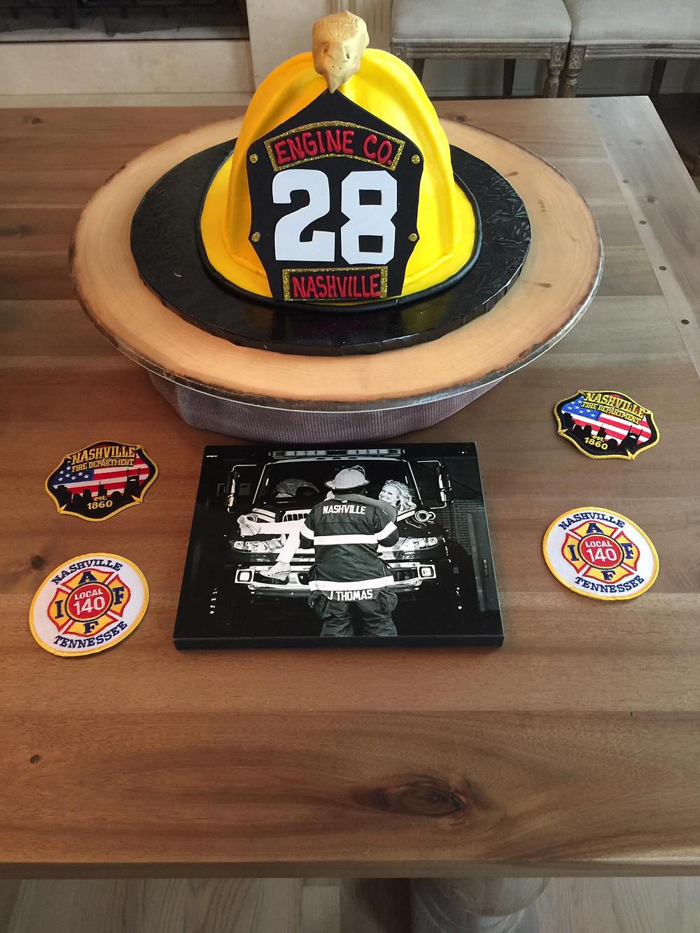 Fireman helmet grooms cake