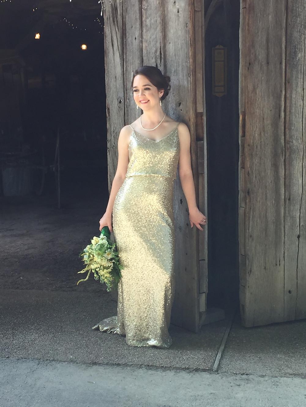 Bride in gold dress - Nashville, TN