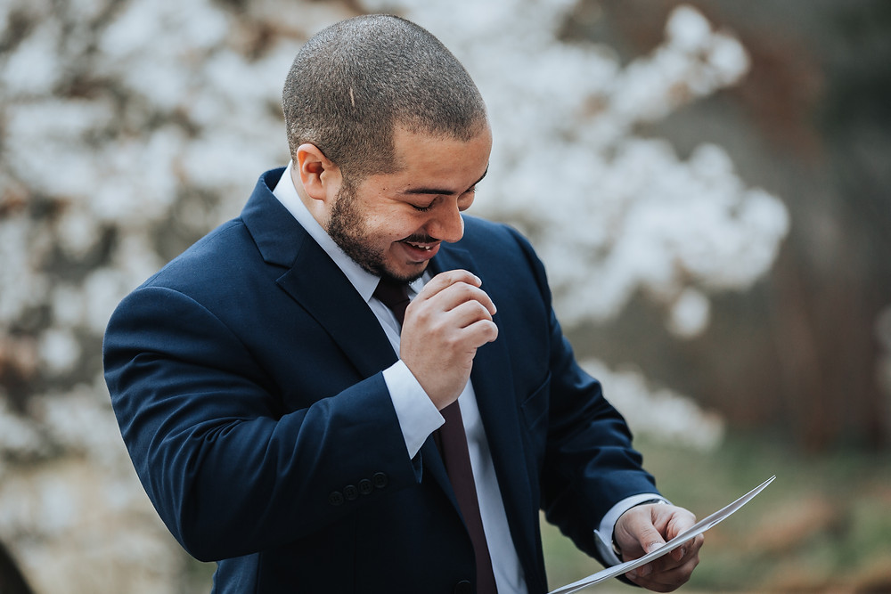 Groom with love letter