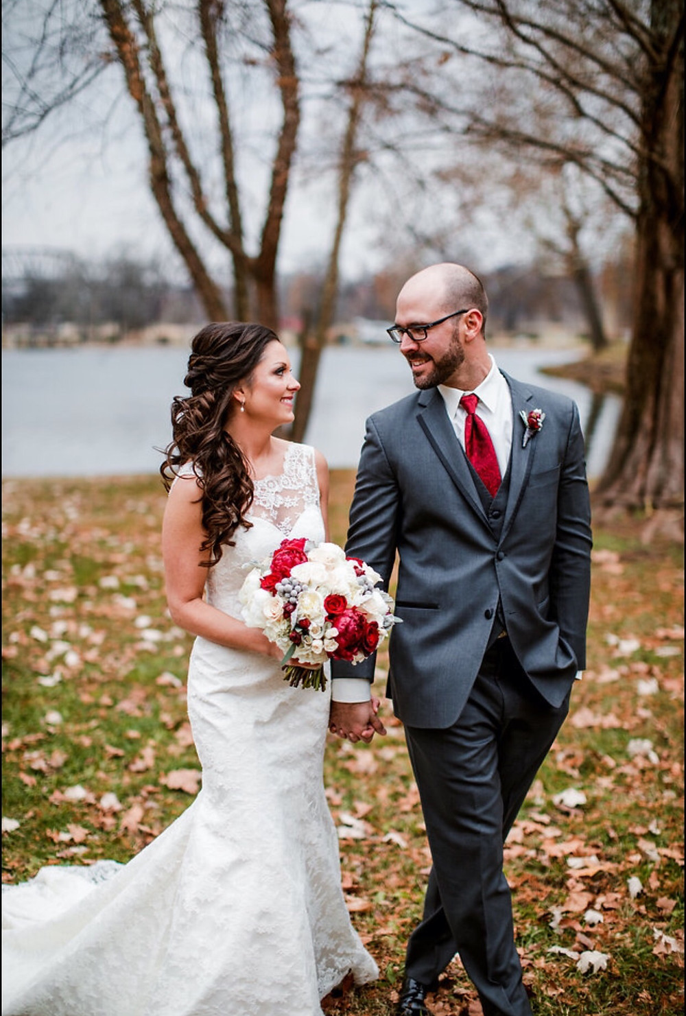 Bride with red flowers - Nashville, TN
