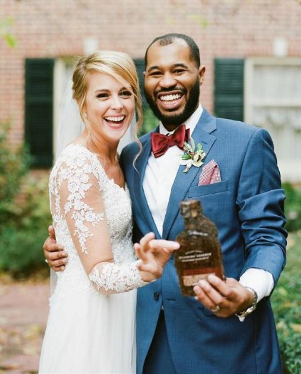 Bride and Groom Burying Bourbon
