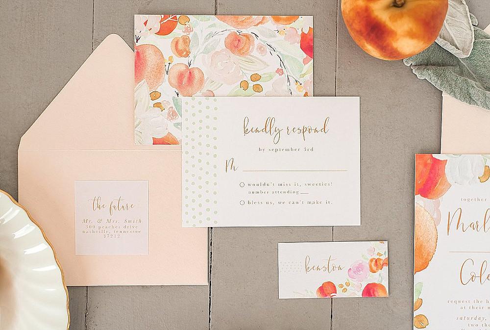 Peach wedding invitation