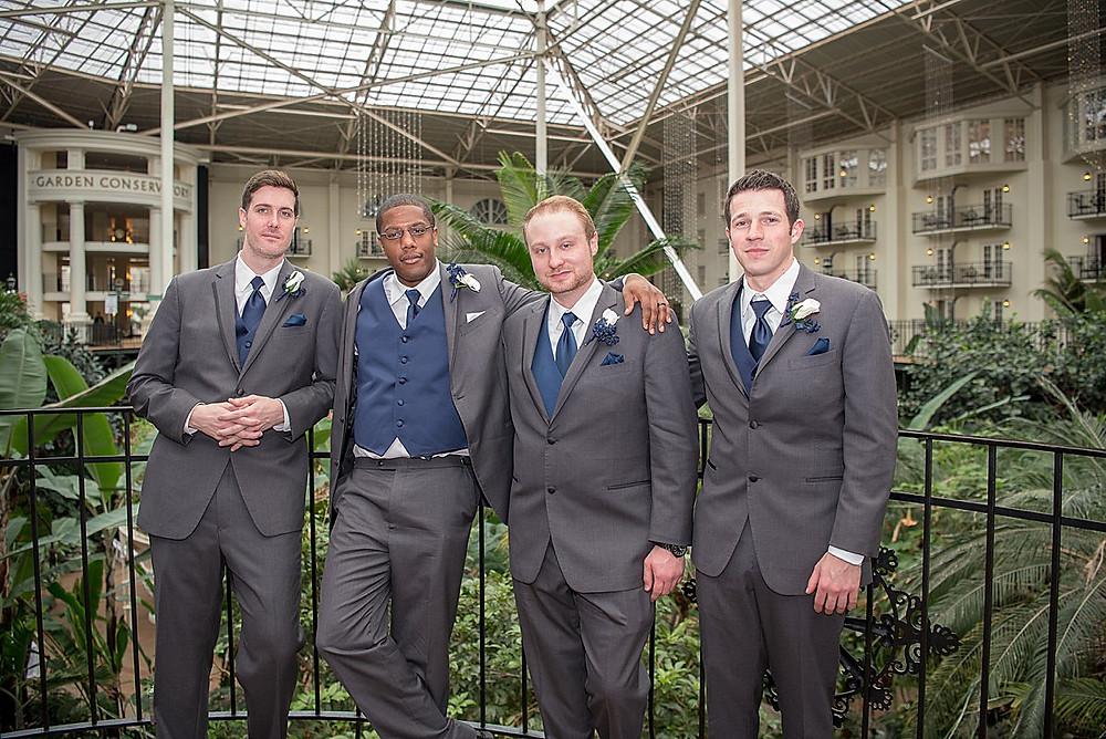 Groom & Groomsmen in grey suits