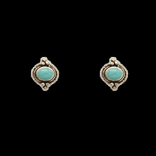 oorbelle zilver turquoise stekkers